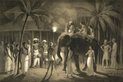 Offrande d'un chef kandien à un temple de Boudha, aux environs de Kandy.  (Ceylan) Mai 1841.  [Chief on an elephant approaching a temple with his offerings, with musicians and the artist alongside.]